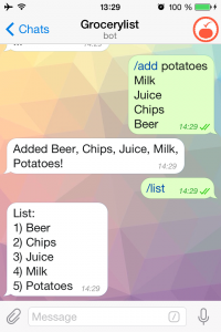 grocery chatbot on telegram
