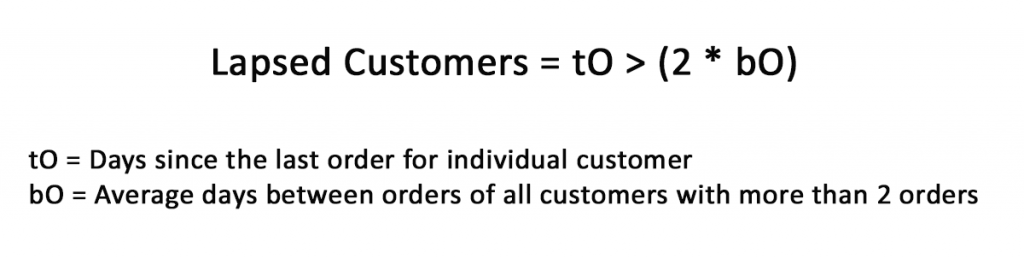 Lapsed customers Calculation
