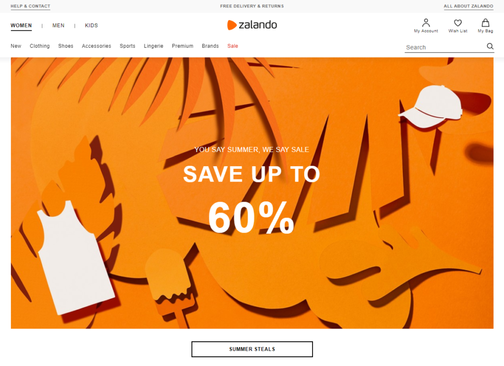 zalando's homepage customer experience