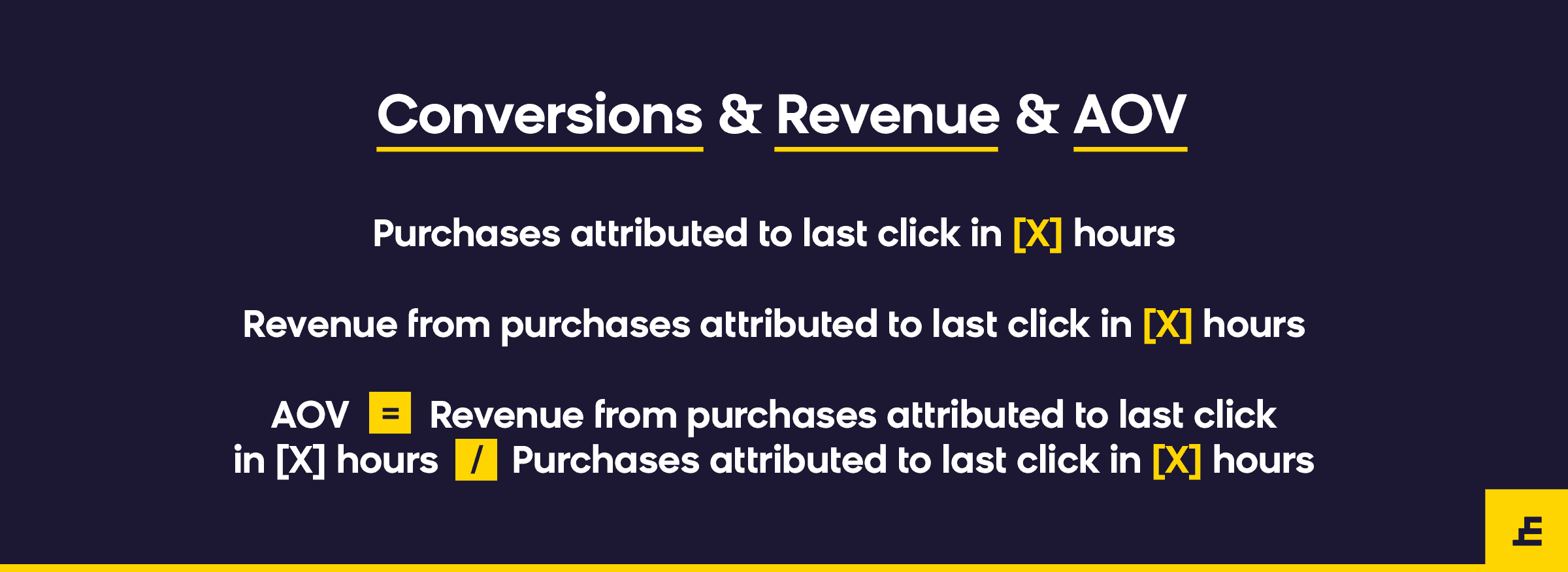email marketing metric - conversion revenue aov