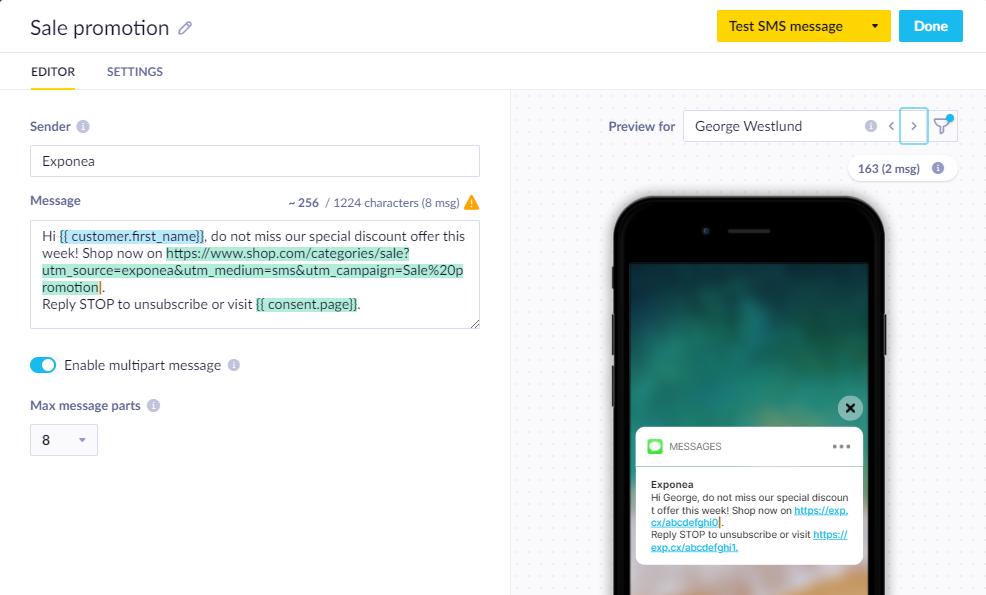 sms marketing - message creator